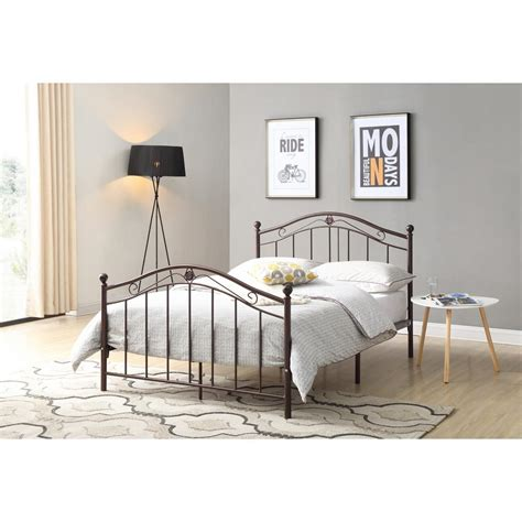 hodedah bronze size metal panel bed with headboard