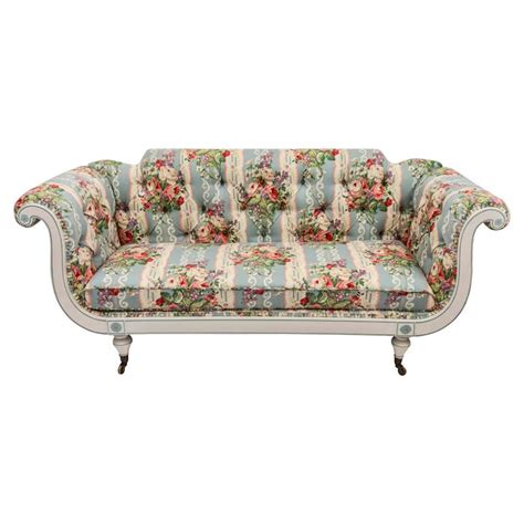 floral settee 19th century english regency settee in floral linen print