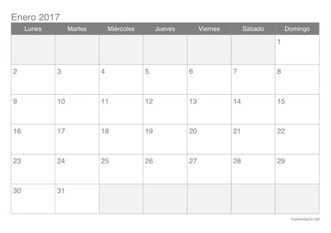 Calendario De Meses Calendario 2017 Para Imprimir Icalendario Net
