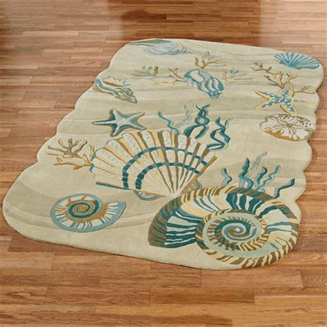 seashell bathroom rugs coastal seashell area rugs