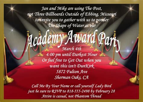 Academy Awards Party Invitations And Oscar Invitations New Selections For 2018 Oscar Awards Invitation Template