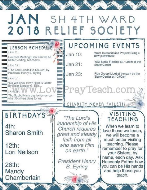 january relief society editable newsletter template