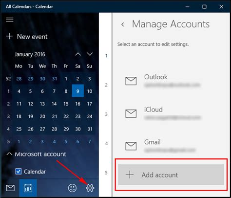 how to create and sync calendar events in windows 10