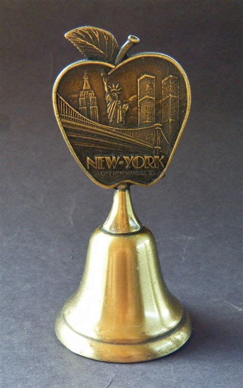 Desk Top Bell by New York City Ny Skyline Bridge Statue Of Liberty