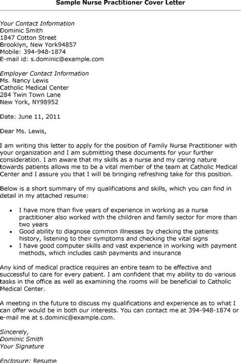 pediatric nurse practitioner cover letter exles