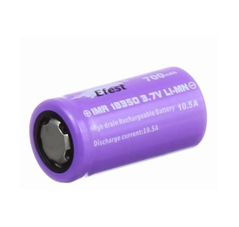 Efest Imr 18350 Battery 700mah 3 7v 10 5a With Flat Top efest 18350 imr 700mah 10 5a 3 7v limn battery purple flat top vapes