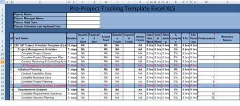 free project tracking template for excel project tracker