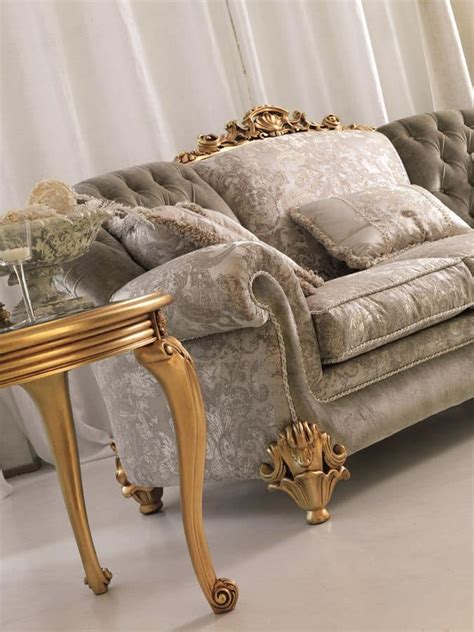 ninfea divani divano classico a 3 posti intaglio con finitura foglia