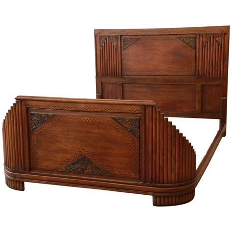 art deco bed 1930s french art deco carved and inlaid walnut full size