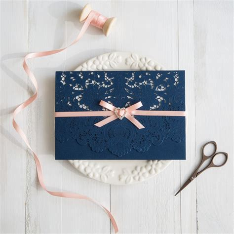 Blue Wedding Invitations by Navy Blue And Wedding Colors Inspired Laser Cut