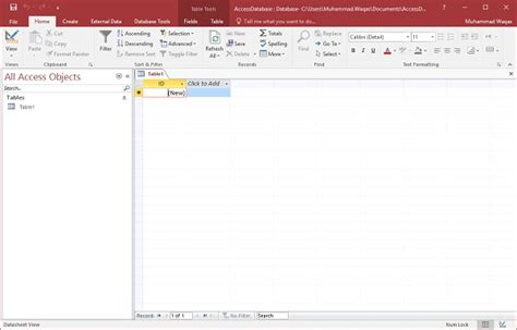 how to create a table in access ms access create tables