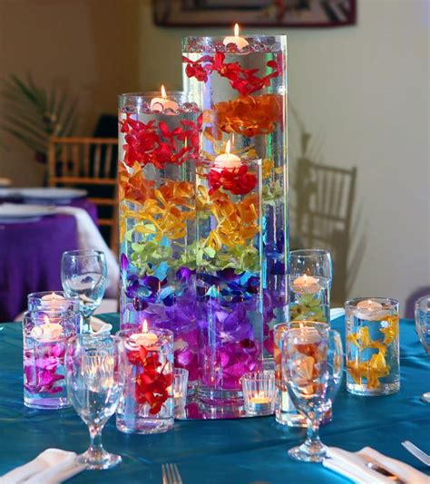 rainbow table centerpieces 25 best ideas about rainbow wedding centerpieces on