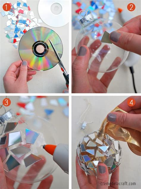 ornaments to make diy mosaic ornaments from cds tutorial
