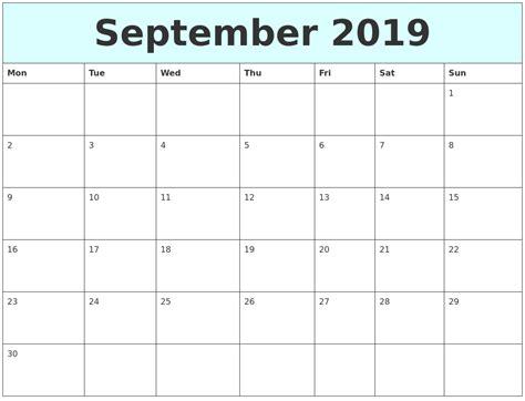printable calendar 2014 monday start september 2019 free calendar