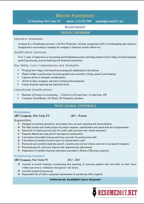 Resume Templates Docx bookkeeper resume 2017