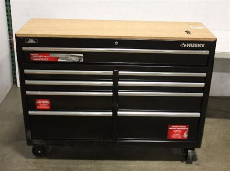 Husky 52 In 11 Drawer Mobile Workbench With Solid Wood by Husky 966340 52in 9 Drawer Mobile Workbench With Solid