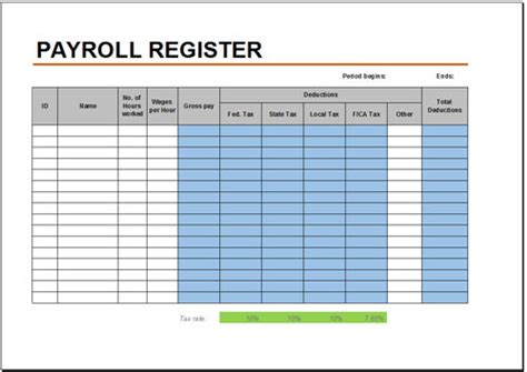 free payroll template free payroll register template for excel ninocrudele