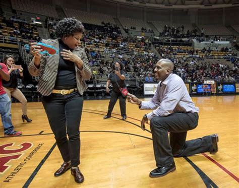 Basketball game marriage proposal