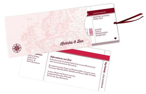 Hochzeitseinladung Reise by Einladung Zur Hochzeit Quot Reise Ins Gl 252 Ck Quot