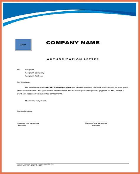 authorization letter writing format preparing an authorization letter my template collection
