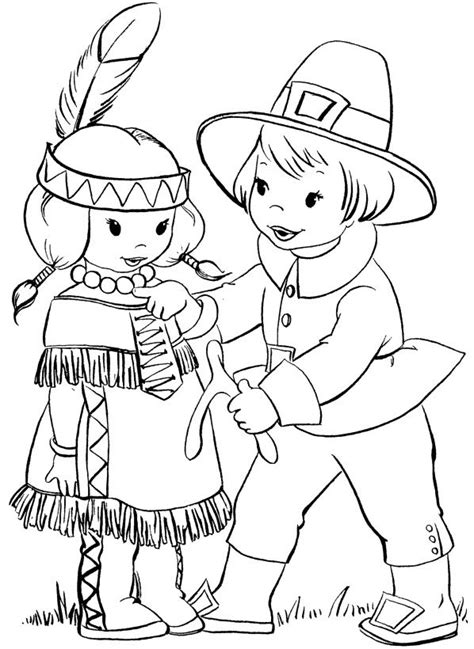 pilgrim indian coloring page thanksgiving native american indian coloring page