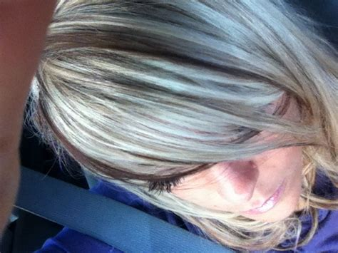 adding lowlights to white hair blonde hair with cranberry brown lowlights perfect for