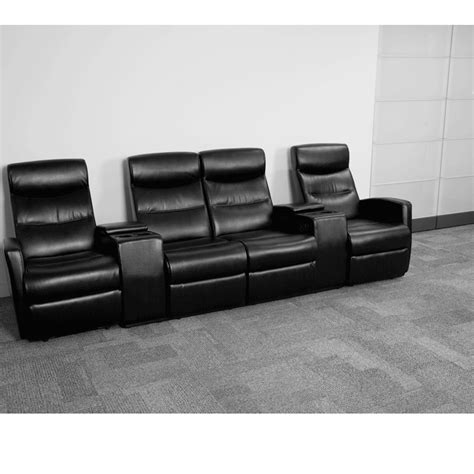 Black Leather Theater Recliner by Black Leather 4 Seat Home Theater Recliner W Storage Consoles Flash Furniture Bt 70273 4 Bk Gg