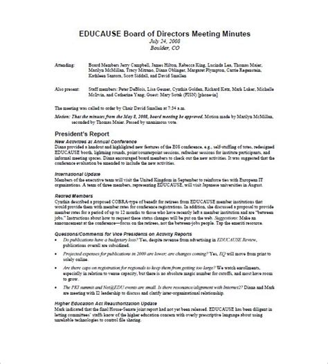 annual board of directors meeting minutes template board of directors meeting minutes template 9 free