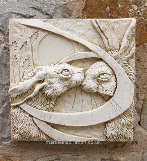 hares tile garden wall plaque garden wall
