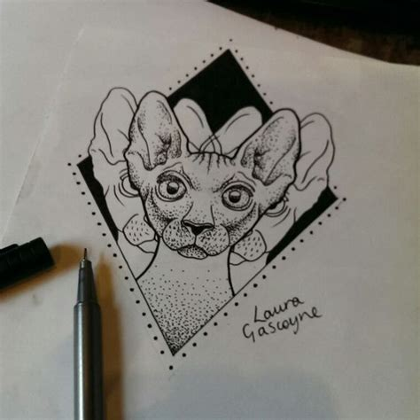 rhombus pattern tattoo bifurcated dotwork sphynx cat on black rhombus background