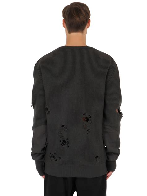 Sweater Yeezy Yeezy Destroyed Wool Sweater In Black For Lyst