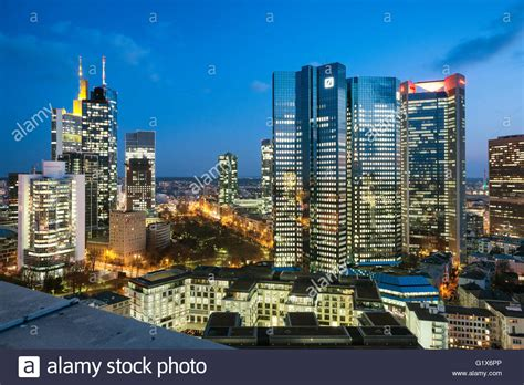 jp bank frankfurt frankfurt skyline and financial center german bank