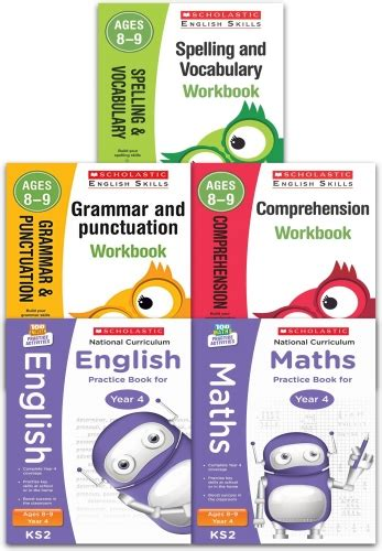 libro national 4 maths practice scholastic national curriculum and english skills year 4 key stage 2 age 89 collection 5 books