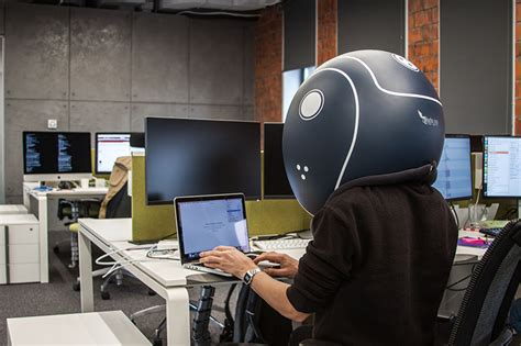Office Space Design Tool hochu rayu s unique helmet gives personal space and fully