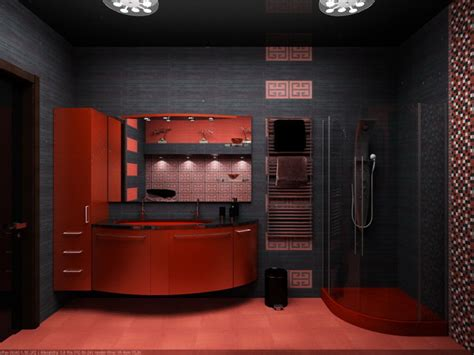 Red And Black Bathroom Ideas by Apartment Red And Black Charming Bathroom Interior Design
