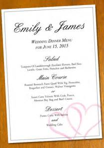 wedding menus templates free sle wedding menu template
