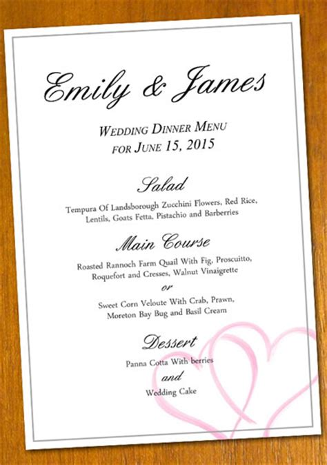 templates for menu free sle wedding menu template