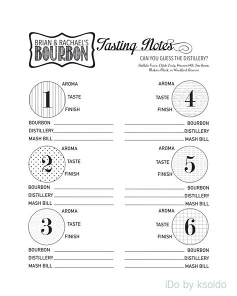Bourbon Tasting Whiskey Tasting Kit For 6 Tastings Whisky Tasting Notes Template