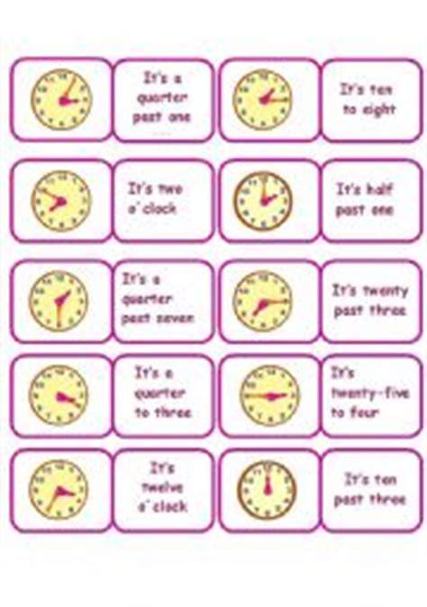 printable clock dominoes english teaching worksheets domino