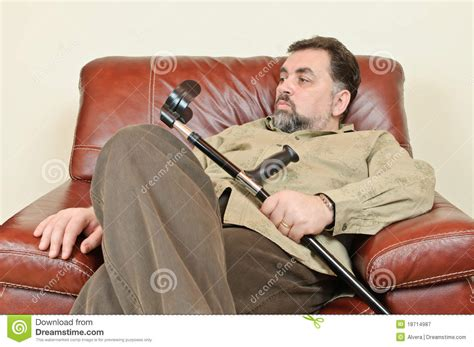 disabled armchairs disabled man in leather armchair royalty free stock photography image 18714987