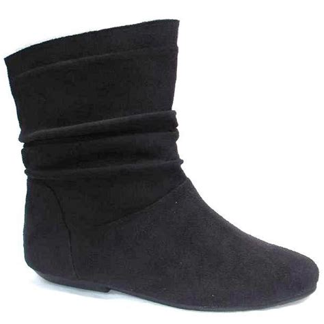 flat shoe boots uk womens fashions black faux suede flat style ankle