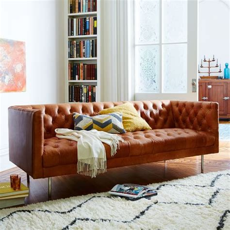contemporary chesterfield sofa modern chesterfield leather sofa west elm