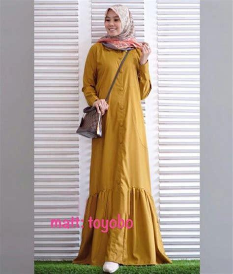baju muslim wanita maxi marbela mustard busana muslim katun toyobo rayna maxi gamis modern terbaru