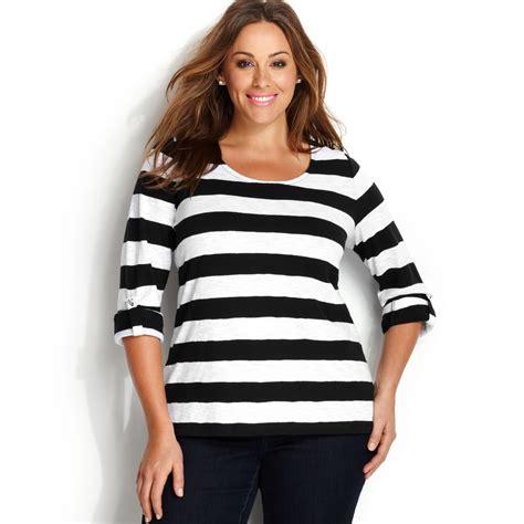 Stripe Black Three Tone 1 inc international concepts plus size threequartersleeve striped top in white lyst