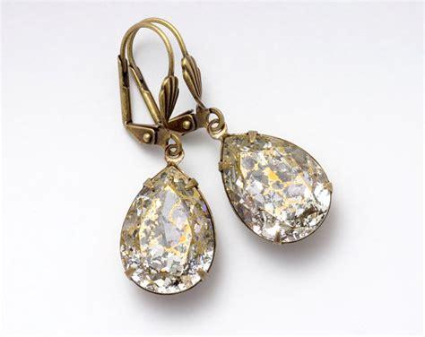 hypoallergenic jewelry gold rhinestone earrings hypoallergenic earrings antiqued