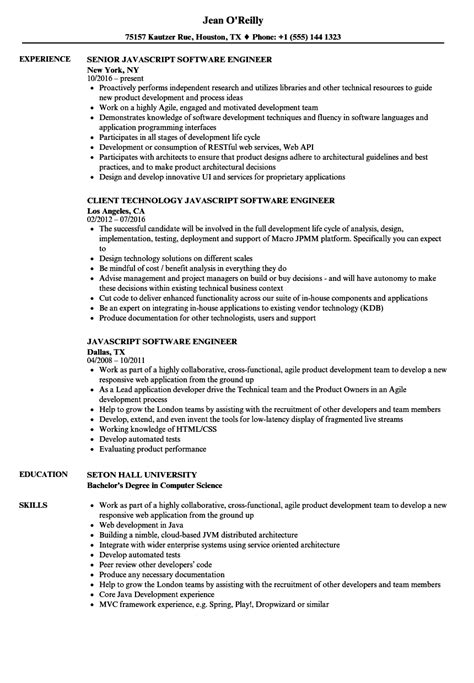 Javascript Software Engineer Resume Sles Velvet Jobs Javascript Resume Template