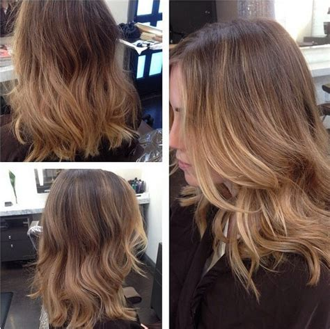 brunette light brown highlights balayage wavy balayage with light brown hair