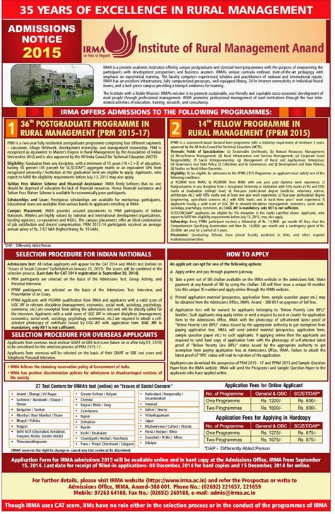 Liba Mba Fees 2015 by Mba College S Admission Notification 2015 Imi Imt Mdi