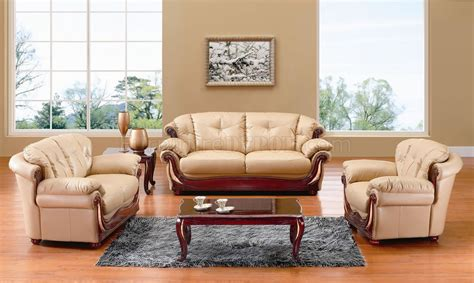 sofas with wood accents beige leather classic living room w cherry wooden accents