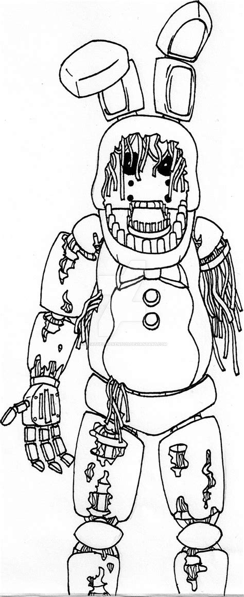 Fnaf 1 Coloring Pages by Fnaf Withered Bonnie By Chicathechicken7020 On Deviantart